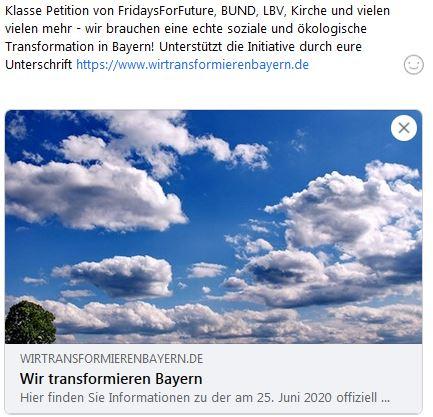 Petition Wir transformieren Bayern